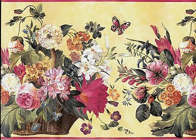 Beautiful Flowers in Basket / Butterflies Yellow with Pink Trim WALLPAPER BORDER