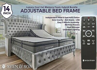 Sven & Son Adjustable Bed Frame (0 Gravity & Massage) + Gel Memory Foam Mattress