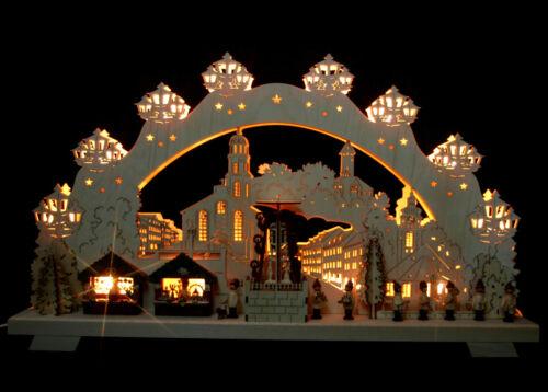 3D-Schwibbogen 68x39cm Weihnachtsmarkt Auerbach mit elekt. Pyramide Erzgebirge