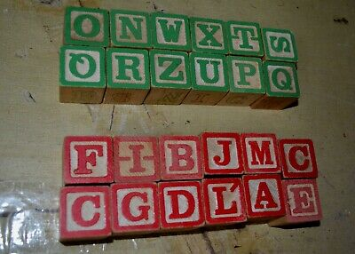 25 Vintage 1960s /1970s Alphabet Letter Number Learning Wood Blocks ABC