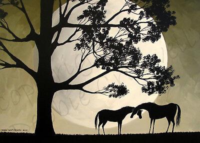 Silhouette horses life oak tree mystic moon Giclee ACEO print folk art (Horses Giclee Print)