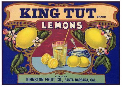KING TUT Vintage Santa Barbara Lemon Crate Label, AN ORIGINAL 1920