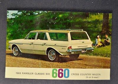 1963 Rambler Classic 660 Cross Country Station Wagon Postcard Brochure Nash AMC