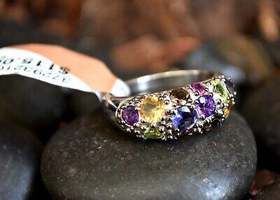 ❤️ NEW sterling silver gemstones Amethyst Peridot Smoky topaz Pink sapphire ring Amethyst Pink Sapphire Ring