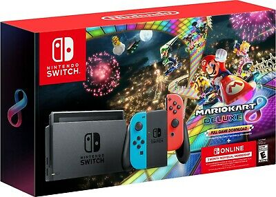 2020 Nintendo - Switch with Mario Kart 8 Deluxe Console Bundle - Neon Blue/Red