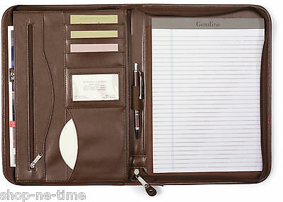 (Gemline Deluxe Executive Vintage Brown Leather Zippered Padfolio - New )