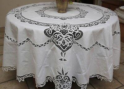Vintage Battenburg Lace Tablecloth 90