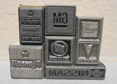 Lot Of 6 Letterpress Printing Blocks All Cars Gm Buick Nissan Pontiac.....