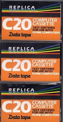 3 x REPLICA C20 BLANK TAPES  PERSONAL COMPUTER CASSETTE NEW CERTIFIED DATA TAPES