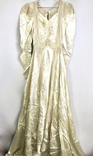 VTG 1940s Wedding Dress Liquid Rayon Ivory Satin W LACE  Form Fitting Train XS