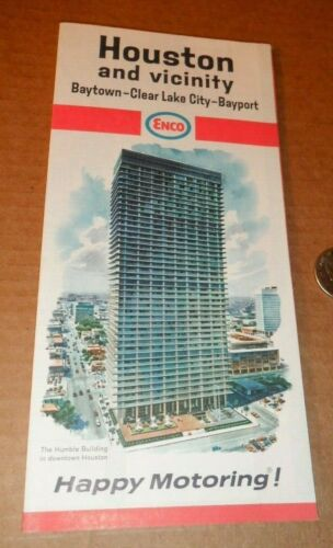 1967 ENCO HOUSTON TEXAS ROAD MAP GAS GASOLINE OIL ESSO HUMBLE EXXON COMPANY