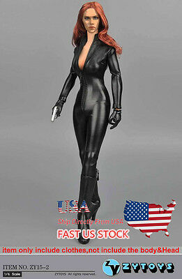 Usa Sell 1 6 12  Figure Clothes Black Female Jumpsuit Siamese Leather Corsetry