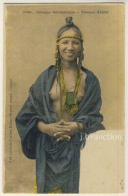 N Africa ARAB WOMAN / NACKTE FRAU * Vintage 10s Ethnic Nude PC FORTIER #1040
