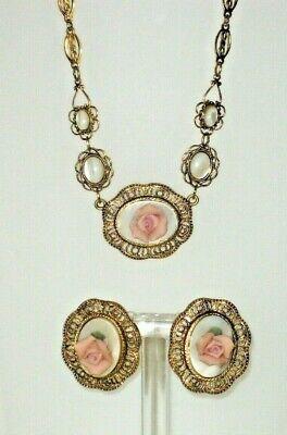 1928 brand vintage necklace & earring set pink flower victorian porcelain