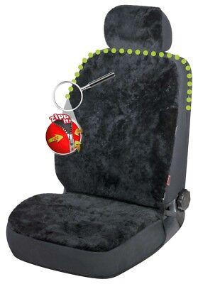 Reißverschluss Lammfell Autositzfell + Kopfstütze schwarz, ZIPP IT System - Lammfell Reißverschluss Vorne