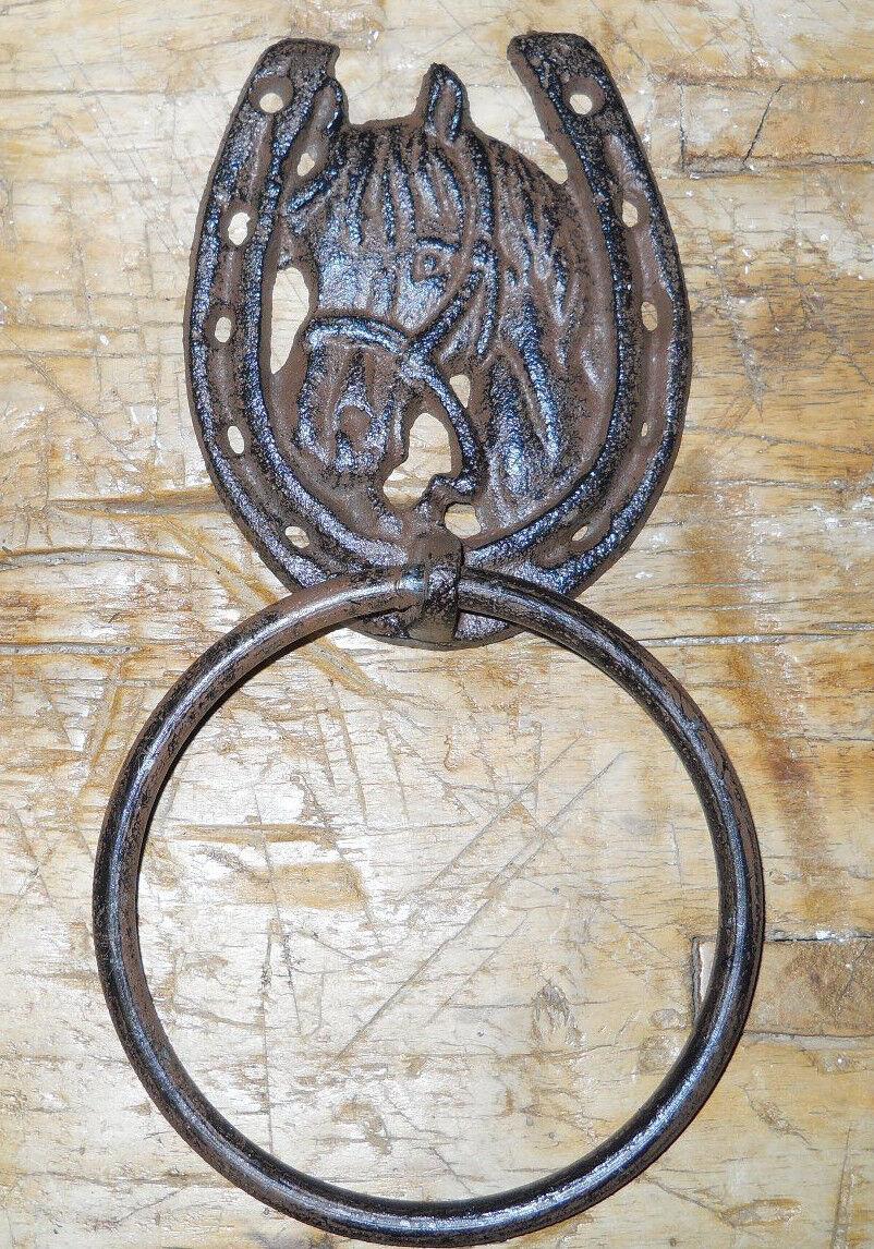 Cast Iron Antique Style Rustic Horse Door Knocker Western
