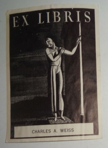 Charles A. Weiss  Ex Libris Bookplate : Starry Night by Rockwell Kent - 1930s