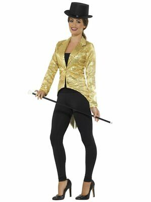 Halloween Costume Tailcoat (Smiffys Sequin Tailcoat Fishtail Gold Jacket Halloween Costume Accessory)