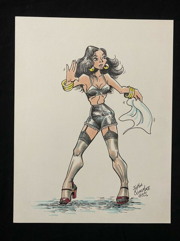Original Senorita Rio Pin Up by Joshua Quagmire 1985- lingerie