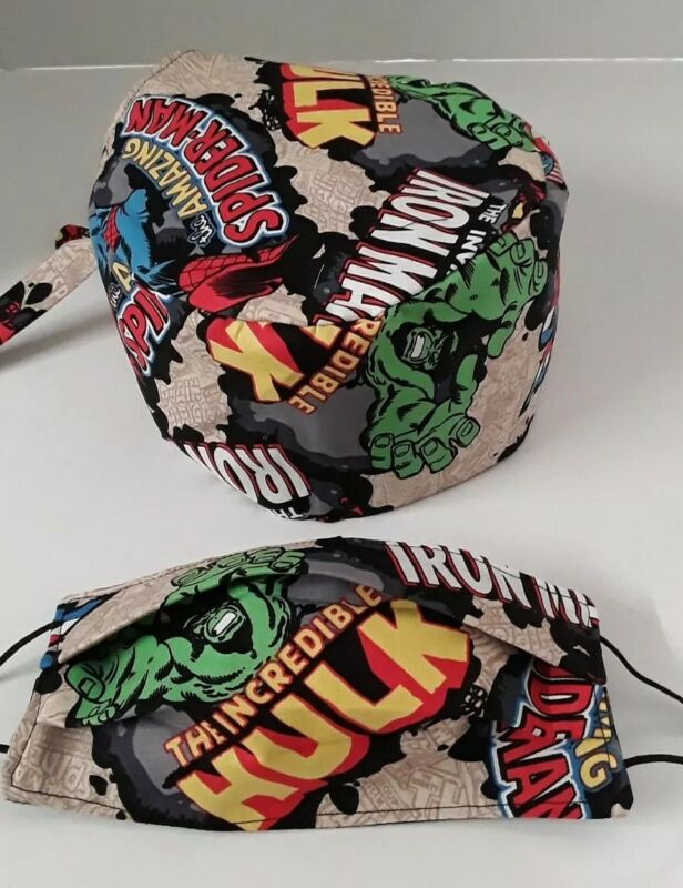 MARVEL Surgical Scrub Cap with Face Mask Set Cotton Doctor Nurses Hat