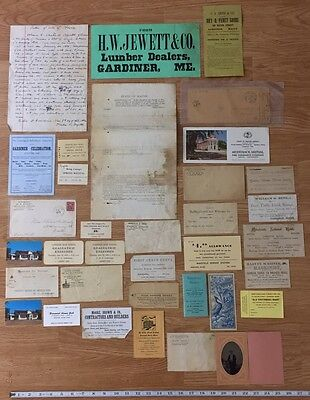 Large Antique Paper Lot Gardiner Maine Water Street 1800's Trade Cards Letters
