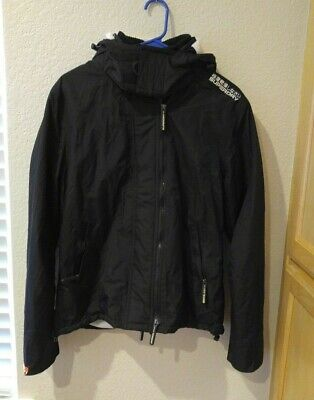 Superdry Jacket Hooded Arctic Pop Zip Windcheater Womens XL Black/White EUC