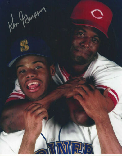 NY Yankees Ken Griffey Sr. autographed 8x10 hugging Junior Griffey**