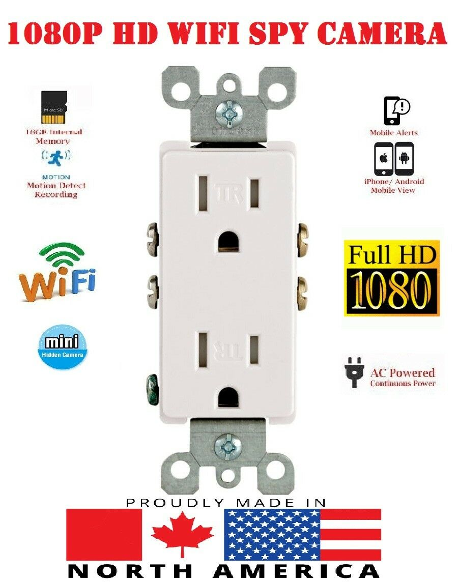 Hidden WIFI 1080P IP Camera Drop In Module AC Outlet Working Wall Receptacle!