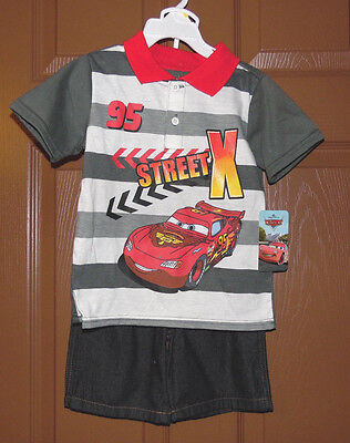 Disney Cars Toddler   Boys 2 Piece Short  Outfit Sizes-3T NWT ()