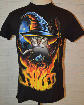 Men's Halloween Wizard Cat Short Sleeve Black T-Shirt Top Sizes M, L, XL