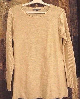 Nwot Womens Lisa Rinna Collection Scoop Neck Long Sleeve Sweater Oatmeal   M