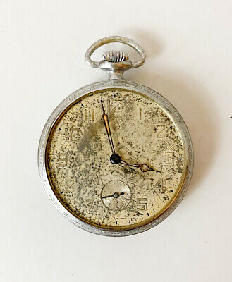 "Vintage Ingersoll Pocket Watch 1.75"" No Glass No Crystal As Is Collectible"