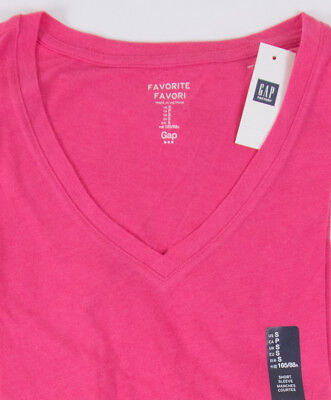 NWT Womens GAP Favorite V Neck T-Shirt Palm Springs Pink - 415631