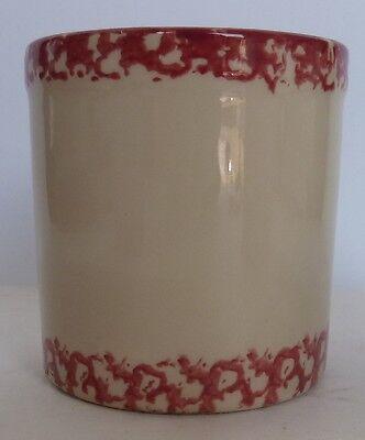 """Gerald E Henn Workshops Red Trim Sponge Ware Crock Canister 4.5"""" H Roseville"""