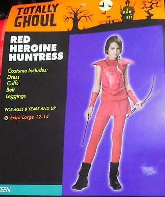 Girls Huntress Costume (NEW Red Heroine Huntress Hunger Costume Games Girl Teen Junior 1-3 NWT FREE)