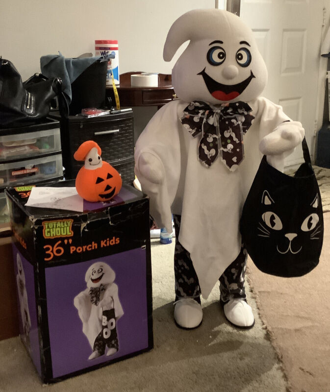 """36"""" Porch Kids Totally Ghoul Halloween Standing Ghost Door Greeter POIB VG Cond"""