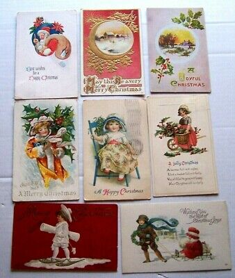 Vintage Lot of 8 Christmas Postcards All Early 1900's  , All Sleeved  ch  23 ()