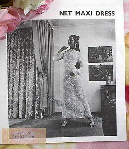 Vintage 70s Crochet Pattern Maxi Dress, Wedding Dress, Bride, Fit 34-36in. Bust