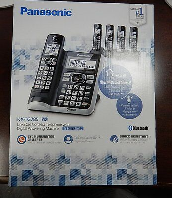 2017 NEW PANASONIC 5 HANDSET CORDLESS PHONE SET DECT 6.0 LINK2CELL KX-TG785SK