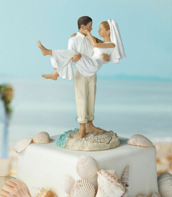 Beach Wedding Cake Topper Figurine Bride & Groom SF