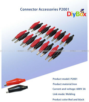 20pcs Black Red Soft Plastic Coated Testing Probe Aligator Clips Crocodile P2001