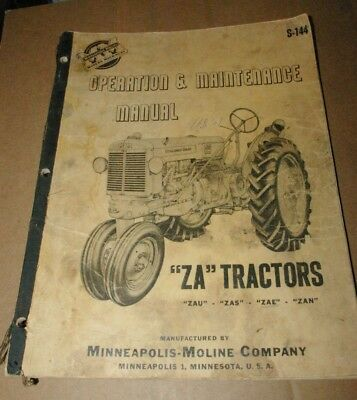 1951 Minneapolis Moline Za Tractors Operation Maintenance Manual