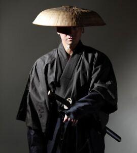 Japanese SAMURAI Traditional Sandogasa Sandokasa hat Warrior Ronin w/ Head Rest