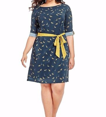 Isabel   Alice Fox Print Belted Shift Dress Size 1X