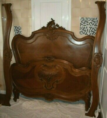 Emile Labrune & Co 19th Century French Carved Walnut Framed Double Bed