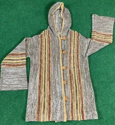 Trissi Vintage Hooded Sweater Wood Buttons Wide Cuff Brown Cardigan Medium Wide Wood Hood