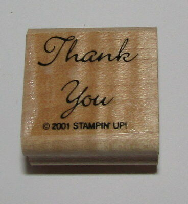 (Thank You Rubber Stamp Stampin Up Retired Wood Mounted Sayings Cursive 1.25