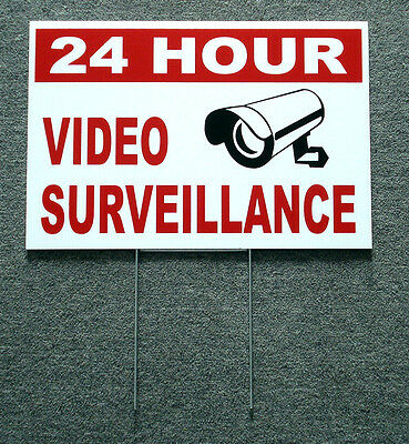 24 Hour Video Surveillance Coroplast Sign 12x18 Wstake New White