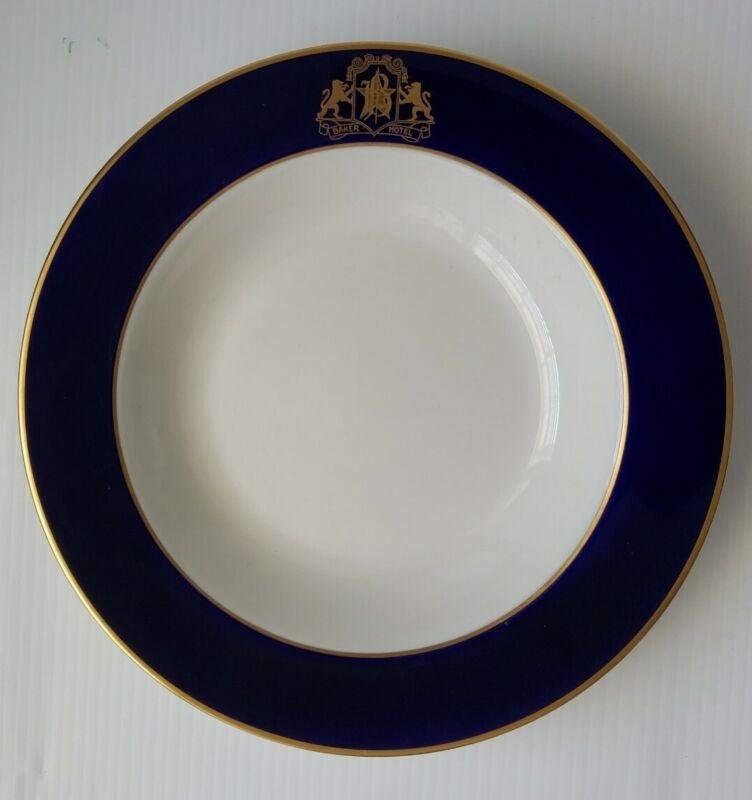 "Baker Hotel 8 3/4"" Rimmed Soup Bowl Syracuse China Vintage Gold & Navy Blue"