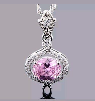 Brilliant white gold plated pink oval cut sapphire multi CZ necklaces covid 19 (Brilliant Cut Pink Sapphire Necklace coronavirus)
